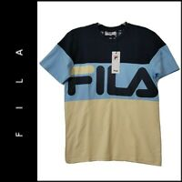 FILA Men's Short Sleeve Stripe Logo Crewneck T-Shirt Size Medium Nwt