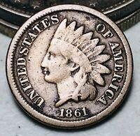 1861 Indian Head Cent Penny 1C CN Key Date Ungraded Civil War Era US Coin CC7105