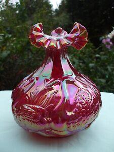 Carnival Glass Fenton Red Swan Vase.Excellent Condition.Original Box & Label.