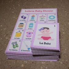 Bingo/Loteria Baby Shower Girl Spanish, 12 boards, 54 playing cards plasticized