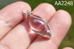 SILVER Case Mystic Pink Energy Naga Eye Gem Crystal LINGAM Thai Amulet #aa2248a