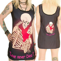 BLACK MINI DRESS TRUE LOVE SKELETON LONG VEST TOP GOTHIC ALTERNATIVE SKULL EMO