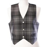 New Scottish Premium Mens Tartan Polyviscose Waistcoat - Hamilton Grey