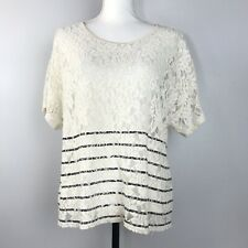 Sundance Womens Sheer Top Size L Lace Trimmed Short Sleeve Crew Neck Striped