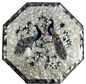 Peacock Design with MOP Random Art Coffee Table Marble Sofa Table Top 24 Inches