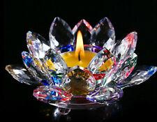 Crystal Glass Lotus Flower Candle Holder Candlestick Home Decor Room Tea Light