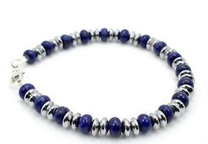 Bead Bracelet Lapis Lazuli and Hematite 925 Sterling Silver Clasp Handmade in UK