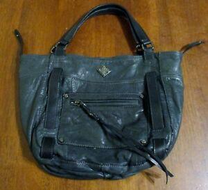 Simply Vera~VERA WANG~Luxe Leather Dark Gray/Slate Handbag/Purse NICE! EUC