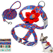 Small Medium Flower Dog Harness and Leash Adjustable Strap Vest French Bulldog