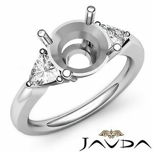 Classic 3 Stone Diamond Wedding Ring 14k White Gold 0.55Ct Trillion Round Mount
