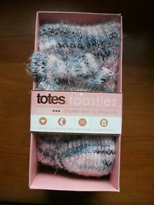 Totes Toasties Chunky Knit Slipper Socks, Sox, New, One Size With Warm Lining