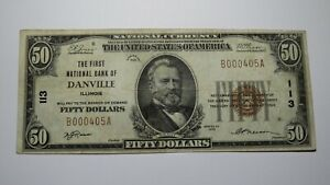 $50 1929 Danville Illinois IL National Currency Bank Note Bill Ch. #113 VF+