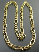 VINTAGE 9ct GOLD FIGARO LINK NECKLACE CHAIN 18 inch 1989