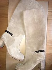 NEW $1295 CHRISTIAN LOUBOUTIN CATE Suede Chain Trim Tall Boots, Taupe, Size 36