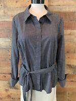 LANE BRYANT Women 20/1X Plus Black/White-Check Long-Sleeve Button-Shirt Top NWOT