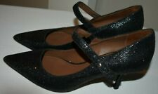 Donald J. Pliner Raye Black Glitter Mary Jane Pointed Toe Pumps Heels 7M