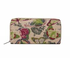 Cream Cotton Zip Purse - Multi Coloured Butterfly Print