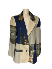 Equestrian Horse Fox Hunting Theme Blazer Jacket Linen Rayon Womens S