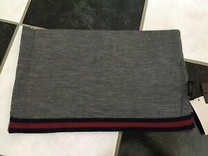 NWT 100% AUTH Gucci Men Wool Scarf Gray Blue/Red/Blue Web Trim 327377