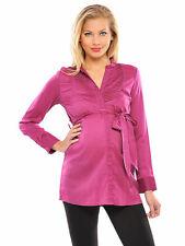 OLIAN Maternity Women's Magenta Pleated Front Sash Around Shirt Tunic M $130 NWT