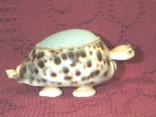"""Turtle Sea Shell Pin Cushion Vintage Brown White Very Good Condition 2"""" Tall"""