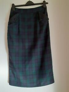 Banned Woman's Blue And Green Check Lined Pencil Skirt 2 Front Pockets - Size S