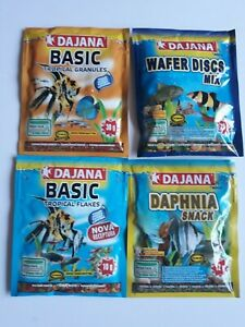 Tropical Flakes, Granules, Wafers & Daphnia 4x sachet bundle -tropical fish food