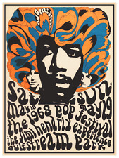 Jimi Hendrix *POSTER* 1968 - Must See Print - Fender Strat MASTER -  PSYCHEDELIC