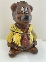 """Vintage Cute Yellow Suit Red Tie Teddy Bear Brown Cookie Jar Made USA 12"""" Tall"""