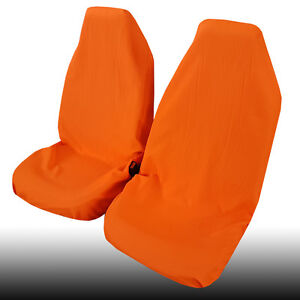 New Arrival Polyester Throw Over Slip On Car Seat Cover 2PCS Orange Color