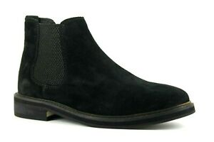 ASOS Womens UK 7 Black Suede Pull On Block Heeled Chelsea Ankle Boots FEEE POST