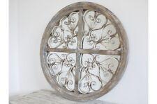 Stunning Rustic Iron & Wooden Vintage Style Home or Garden Mirror - 72cm Round