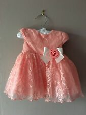 Coral Party Dress Baby Girl 3 Months Lacy Skirts