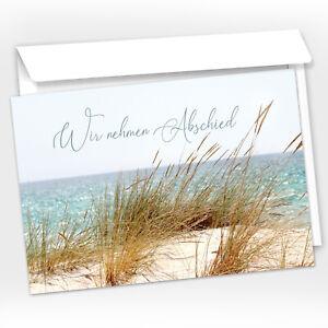 15 Trauer-Danksagungskarten Trauer-Karten mit Umschlag – Strand, Düne
