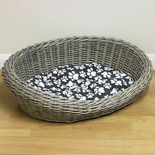 Woven Natural Wicker Shabby Chic Pet Bed Basket Dog/Puppy Washable Soft Cushion