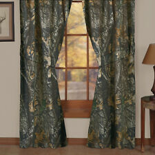 """Mossy Oak New Break Up Lined Curtains w/valance Camo 42"""" x 87"""" panels Nature"""