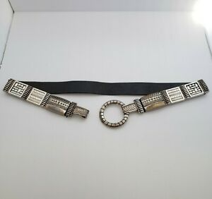 """Vintage Chico's Stretch & Leather Belt 36""""-40"""" Etched Silver Metal Hook Buckle"""