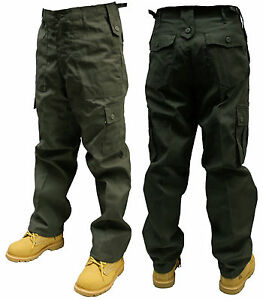 OLIVE GREEN ARMY CARGO COMBAT TROUSERS PANTS 30 32 34 36 38 40 42 44 46 48 50
