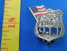 LOT OF 5 GOOD QUALITY NEW YORK POLICE DEPT 9-11 FLAG MINI BADGE LAPEL PIN