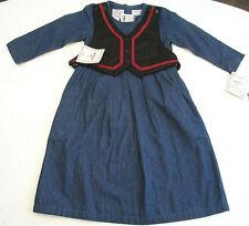 Vtg COUNTRY WEAR KIDS Dress Sz 4 Girls Denim w Reversible Vest LONNEE G STAR NWT