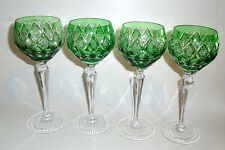 """Lot of 4  Elegant Emerald Green Cut to Clear Wine Goblets  8-1/4"""" tall"""