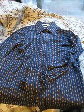 Vtg 70's Slinky Disco Shirt.Pattern. Mans Large. Tall size. Kings Road