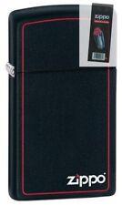 Zippo 1618zb black matte slim with logo Lighter + FLINT PACK
