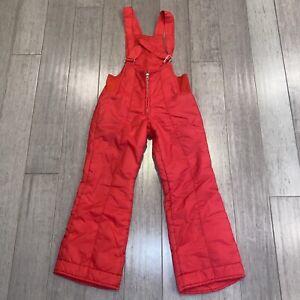 Vtg 60s 70s Apres Ski Bib Snow Suit Pants Mod Retro Red SEARS Youth Kids Boys 10