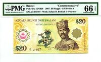 BRUNEI 20 RINGGIT 2007 COMMEMORATIVE PICK 34 a GEM UNC  LUCKY MONEY VALUE $240