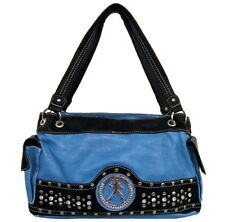 Blue Elvis Presley Rhinestone & Studded Accented Satchel Style Purse