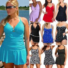 Plus Size Women Swimdress Padded Push Up Tankini Swimsuit Swimwear Beach Bathing