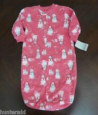 NWT Carter's Baby Girls Pink Snowman Fleece Sleep Bag Sack 0-9m NEW $30