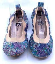Yosi Samra  Foldable Ballet Flats Shoes 8 Floral Needlepoint Print Leather NEW