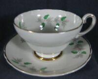 Crown Fine Bone China Tea Cup & Saucer Set England Green Berries Wisteria Grapes